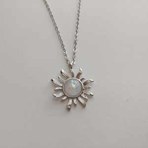Silver Sun Opal Colored Necklace